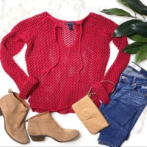 Abercrombie & Fitch Red Long Sleeve Tassel Sweater